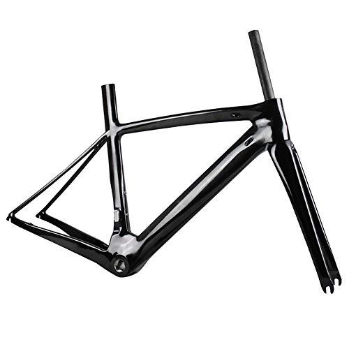 LJHBC Fahrradrahmen Vollkohlefaser 700C Rennradrahmen Mit Vordergabel, Handgelenkgruppe Ultraleichter Downhill-Rahmen Mehrfachgröße (Color : Black, Size : S)
