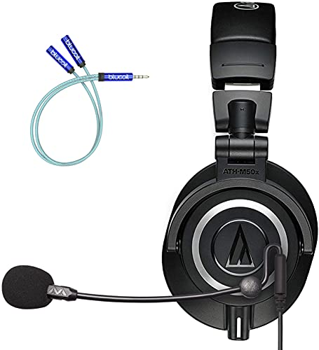 Audio Technica ATH-M50X Professional Studio Monitor Headphones, Black Bundle with Antlion Audio ModMic Uni Attachable Noise-Cancelling Microphone with Mute Switch, and Blucoil Y Splitter Cable