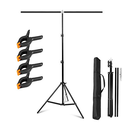Meking 5x6.5feet/1.5x2m T-Shaped Photo Backdrop Background Stand with Carry Bag and Heavy Duty Clamps Support System Kit for Photo Video Studio