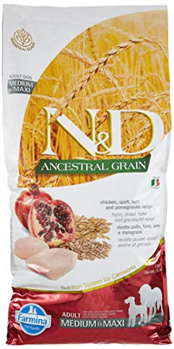 Farmina Natural & Delicious Ancestral Grain Chicken & Pomegranate Medium & Maxi Dog Food, 26.5 lb.