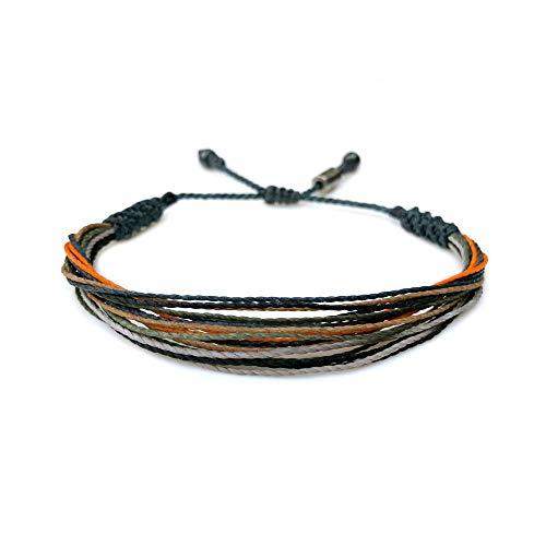 Woven Thread Rope Bracelet for Men Teenage Boys in Navy, Orange, Pine Green and Gray w Hematite Stones Adjustable Drawstring