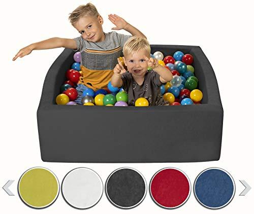 sunnypillow Bällebad für Baby Kinder mit 200 bunten Bällen ∅ 7cm Bällepool 90x90x30cm viele Farben zur Auswahl Spielbälle Kugelbad Spielbecken Farbe : grau