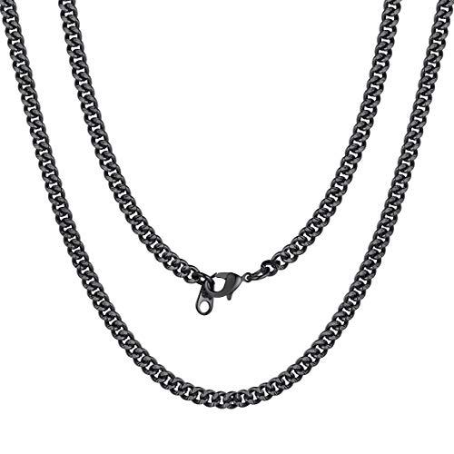 ChainsPro Kupfer Herren Halskette Kubanische Gliederkette Dick Kette,4/7mm Breite Männer Ketten 7mm Gold/Silber/Schwarz/Rose7mm Gold in Verschiedenelänge:46/56/66/71/76/81cm, Kupfer Herren Ketten