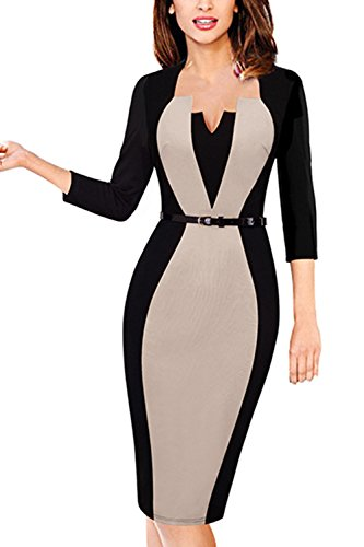 MisShow Damen V Ausschnitt Business Kleid Partykleid Pencil Etuikleider Strecken Tunika Gr.S-4XL