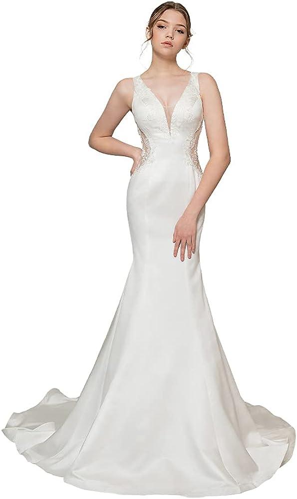 different me Women's Deep V-Neck Lace Mermaid Bridal Wedding Dresses