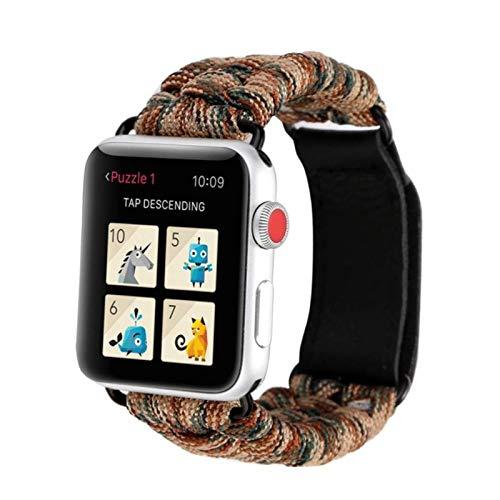 Apple Watch Band, piezas de nailon Cable de paracaídas Deportes al aire libre Actividad de camping Mujeres Hombres Correa de pulsera para IWatch Series 5 4 3 2 1