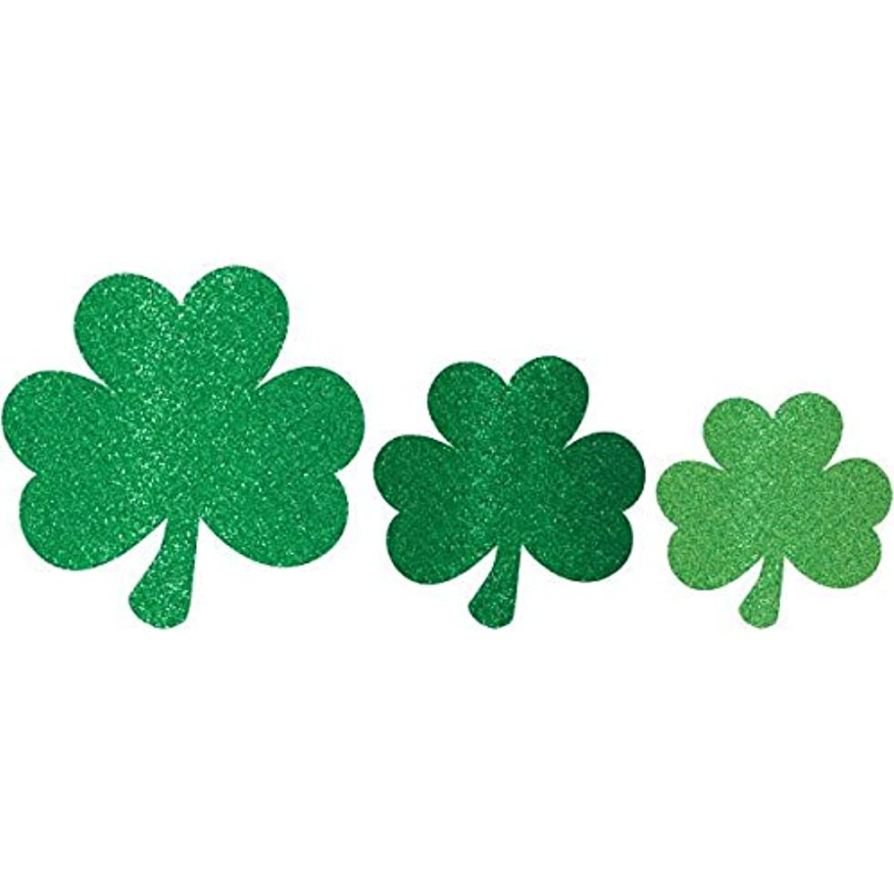 Amscan 197523 St Patrick's Day Mini Glittered Shamrock Assorted Cutouts, Multisizes, Green