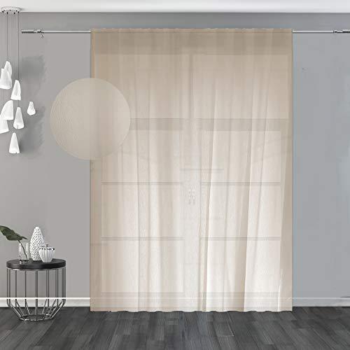 domus&trend Alina - Cortina beige con trama ligera y elegante, con bordados y acabados de costura con plomo; ideal para cualquier ambiente de la casa, fabricada en Italia