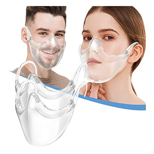 2pcs Durable Clear Face_Mask Covering, Breathạble Windproof Reusable Transparent 𝐌𝐚𝐬𝐤s for Adults Coronàvịrụs Protectịon, Washable Safety Face Mouth Shield for Outdoor Activities
