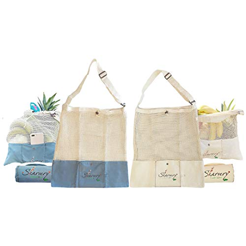Cotton Mesh Reusable Tote Bag – Set of 2 Foldable Grocery & Beach Bags with Adjustable Strap, Drawstring, Pocket, Opaque Bottom – Cross-Body, Ergonomic Bag Holds 11 Lbs by Skarvery 18x18 In Beige&Teal