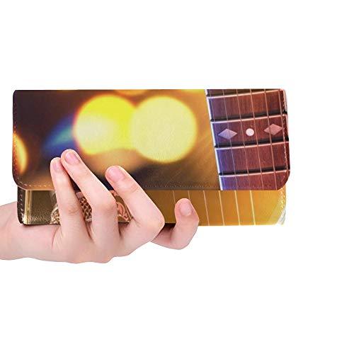 Único Personalizado Guitarra Acústica Micrófono Luces País Mujeres Monedero Monedero Monedero Largo Titular de la Tarjeta de Crédito Caso Bolso