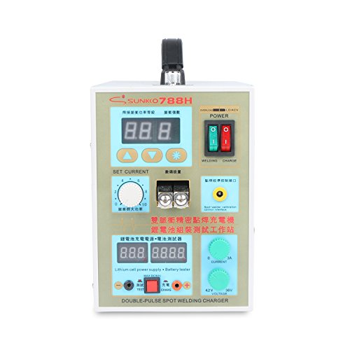 SUNKKO Pulse Spot Welder 788H 18650 battery Welding Machine with LED Battery Testing and Charging Function,110V