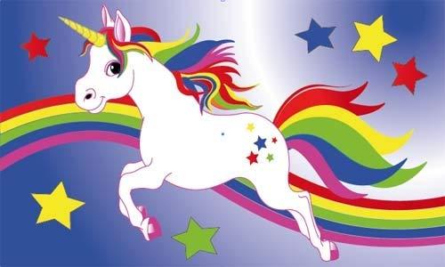 Fanshop Lünen Fahne - Flagge - Einhorn - Regenbogen - Pferde - Pferd - 90x150 cm - Hissfahne 2 Ösen - Sterne -