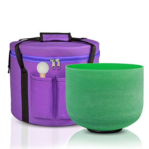 CVNC 8 Inch F Note Green Color Frosted Quartz Crystal Singing Bowl Free Carry Bag Mallet & O-ring