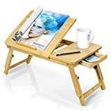 Zipom 100% Portable Bamboo Laptop Stand Foldable Desk Notebook Table Laptop Bed Tray Bed Table, play games on bed Table with Drawer (19.5in-flower)