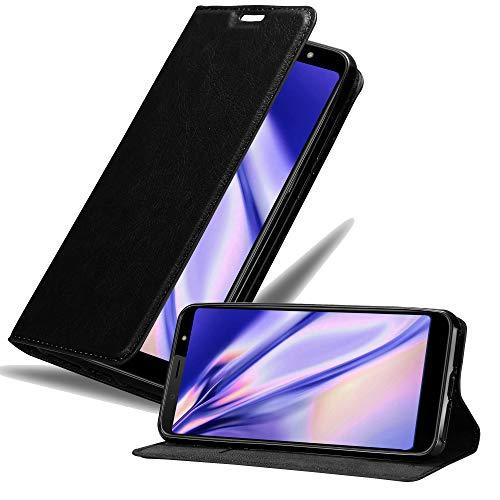 Cadorabo Hülle für HTC U12 Life in Nacht SCHWARZ - Handyhülle mit Magnetverschluss, Standfunktion und Kartenfach - Case Cover Schutzhülle Etui Tasche Book Klapp Style