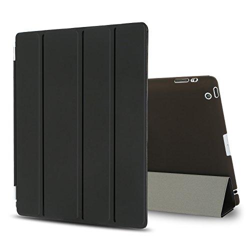Besdata iPad 2 3 4 Hülle Smart Cover Schutz Hülle Leder Tasche Etui für Apple iPad Ständer Sleep Wake mit Bildschirmschutzfolie Reinigungstuch Stift Schwarz