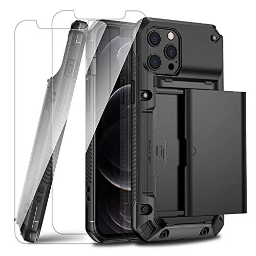 Tcbydl Compatible con iPhone 12 Pro Max funda con 2 cristales blindados, funda rígida con ranuras para tarjetas, carcasa híbrida a prueba de golpes para Apple 12 Pro Max (negro)