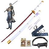 ONE PIECE COS Espada madera Trafalgar Law Cosplay Anime Lovers Samurai Swords Katana Blade Modelo arma Juegos utilería Juguetes Regalo para niños - con cinturón espada/Bolsa y naipes (104cm/41in)