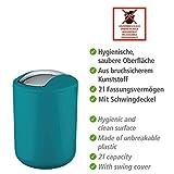 Wenko Kosmetikeimer Brasil S 2 Liter, Badezimmer-Mülleimer mit Schwingdeckel, kleiner Abfalleimer aus bruchsicherem Kunststoff, Ø 14 x 21 cm, petrol - 4