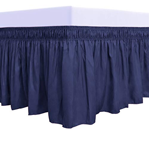 PureFit Wrap Around Ruffled Bed Skirt with Adjustable Elastic Belt - 18 Inch Drop Easy to Put On, Wrinkle Free Bedskirt Dust Ruffles, Bed Frame Cover for Queen, King and C-King Size Beds, Navy