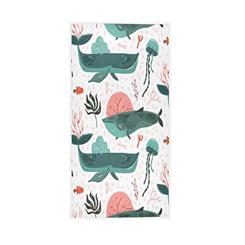 "senya Colorful Whales Hand Towel Ultra Soft Luxury Towels for Bathroom 30""x15"""