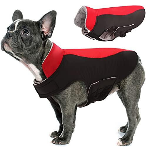 Hjyokuso Abrigo de Perro Impermeable a Prueba de Viento Chaqueta Caliente para Mascotas al Aire Libre, Cachorro Ajustable Ropa fría Invierno para Perros pequeños, medianos y Grandes(Rojo XL)