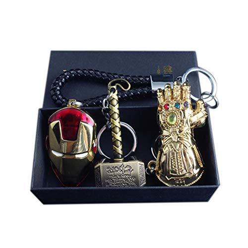 Chiefstore Exquis Porte-clés Set 3pcs Endgame Film Cosplay Costume Accessoires Alliage de Zinc Pendentif Bijoux pour Adulte Collection de Cadeaux de Déguisements