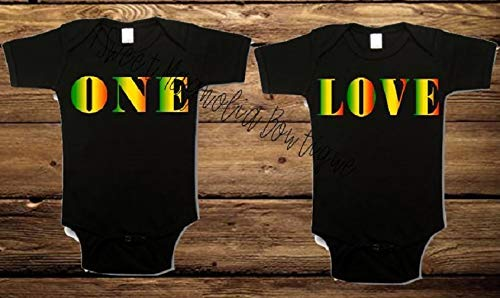 ONE LOVE JAMAICAN THEMED ROMPER-TWINS Luxury goods Regular discount TWIN BABY GIFT