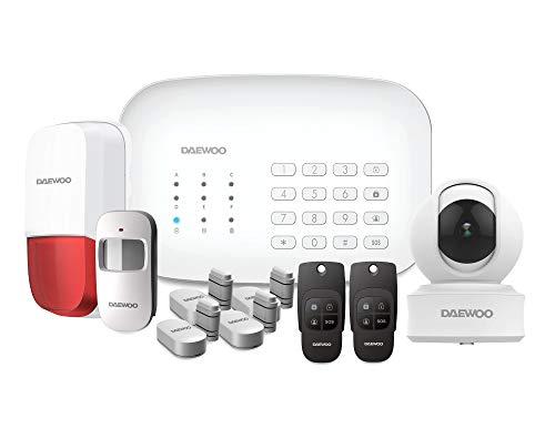 DAEWOO - Sistema de Alarma WiFi gsm con Sirena y batería integradas, RFID, Incluye 9 Accesorios, 1 cámara Interior DAEWOO IP501 Full HD y 1 Sirena Exterior
