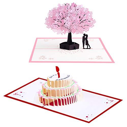 Biglietto D'Auguri Matrimonio D'Amore Per Compleanno Romantico Anniversario Nozze Carta 3D Pop-Up (B)