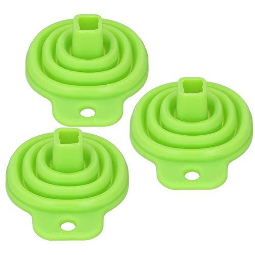 【Día de la Madre】Embudo de silicona flexible plegable embudo de cocina, apto para lavavajillas para el hogar botella de agua verde transferencia de líquidos