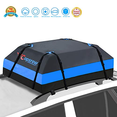 Copsrew 20 Cubic ft Car Roof Bag Top Carrier Cargo Storage Rooftop Luggage Waterproof Soft Box Luggage Outdoor Water Resistant for Car with Racks,Travel Touring,Cars,Vans, Suvs (Dark Blue)