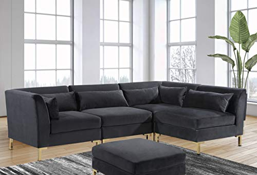 Iconic Home Girardi Modular Chaise Sectional Sofa Velvet Upholstered Solid Gold Tone Metal Y-Leg with 6 Throw Pillows Modern Contemporary, Black
