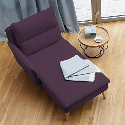 place to be. Recamiere mit Armlehne Links - Ottomane Chaiselongue Eiche massiv Aubergine
