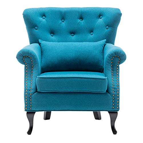 INMOZATA Armchair Linen FabricTufted Upholstered Occasional Lounge Seat Modern Tub Chair with Pillows for Dining Living Room Bedroom Office Reception (Teal Blue)