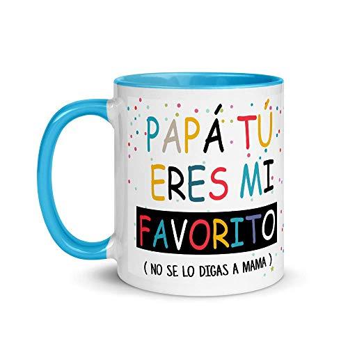 Kembilove Taza de Café Papá Tú Eres mi Favorito – Taza de Desayuno para Regalar el día del Padre – Regalo Original Tazas de Café y Té para Padres y Abuelos – Taza de Cerámica Azul de 350 ml
