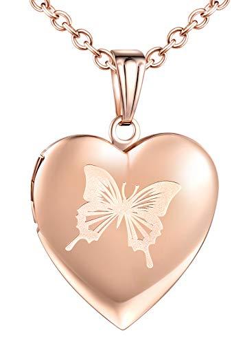 CPSLOVE Collar con Foto de corazón, Colgante de Acero Inoxidable para Mujer niña, Collar de Mariposa, Collar conmemorativo, Puede Poner Fotos, tallar el patrón de Mariposa