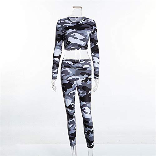 Frauen Yoga Trainingsanzug Lange Camouflage Yoga Wear Dekoriert Navel Frauen Knopf Tights Mit Hoher Taille Leggings Fitness Wear Damen Fitness Yoga Lauf Trainingsanzug