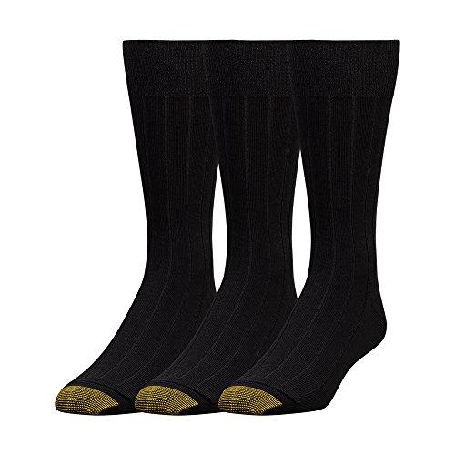 Gold Toe Men's Hampton Socks, 3 Pairs, Black, Shoe Size: 6-12.5