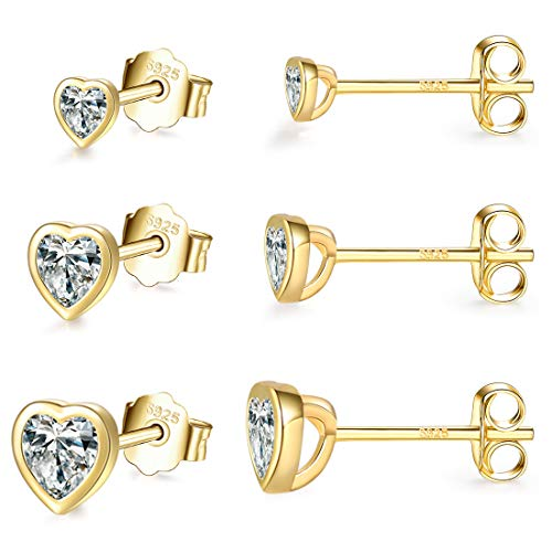 Small Stud Earrings for Women Men Girls- 3 Pairs of Silver Tiny Heart Shaped Cubic Zirconia Earrings 18k Gold Plated Tiny CZ Cartilage Tragus Earrings(2mm/3mm/4mm)