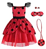 ReliBeauty Disfraz Ladybug Carnaval Cosplay Anime niña con Antifaz, Bandolera,7-8 años