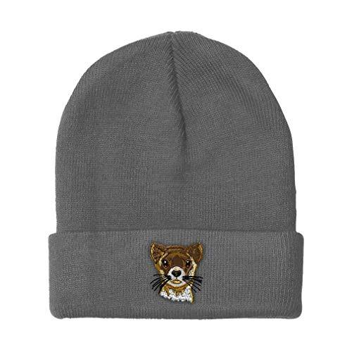 Custom Beanie for Men & Women Ferret C Embroidery Acrylic Skull Cap Hat Light Grey Design Only