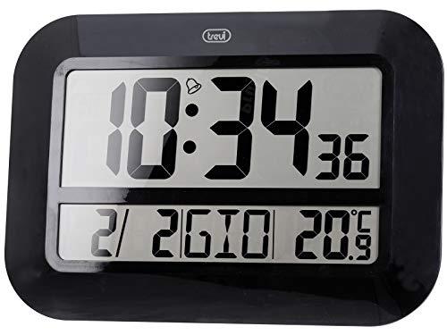 Trevi OM 3540 D Orologio Digitale Radiocontrollato da Muro con Grande Display, Termometro, Sveglia, Calendario Multilingue, Installazione a Parete o Tavolo, Nero