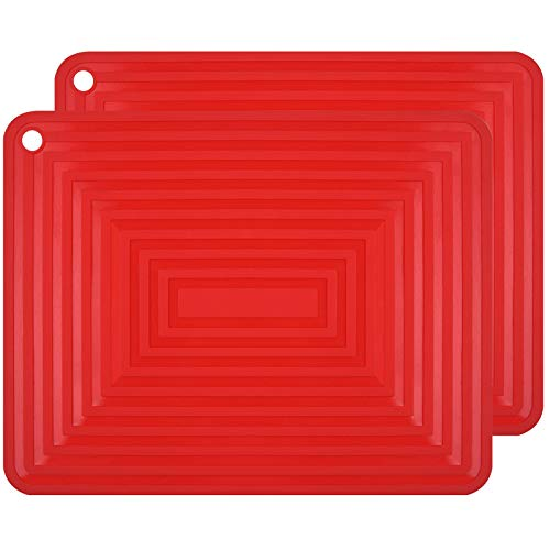 flintronic Silicone Table Mat, 2 Pack Large Silicone Trivet Mats,29x23CM Non Slip Flexible Durable Heat Resistant Pot Coaster Kitchen Table Countertop Mats(Red)