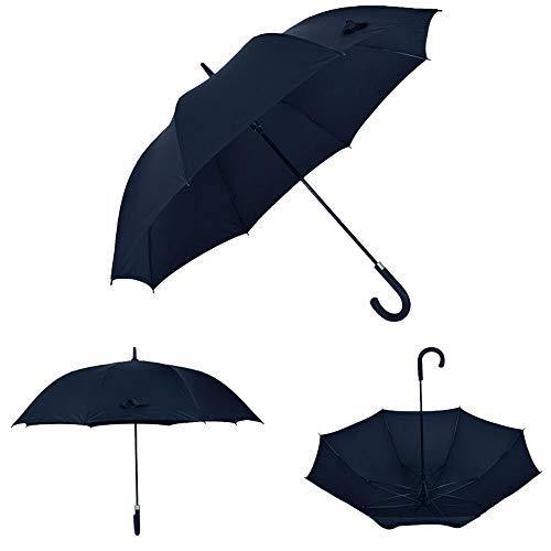 Big seller Regenschirme Langer Handgriff Doppelschicht automatische Regenschirm männlich und weiblich Haken Schirme große Winddichte Business-Regenschirm (Farbe : SCHWARZ)