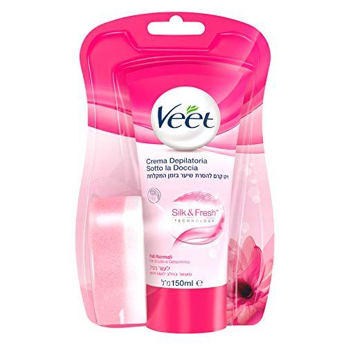 Veet Crema Depilatoria Sotto la Doccia Silk & Fresh Technology, 150 ml (Pelli Normali)