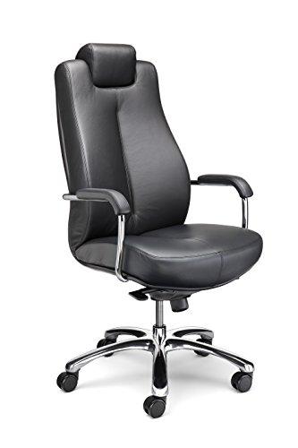 Schwerlastdrehstuhl Bürostuhl bis zu 150 kg Chefsessel aus Echtleder schwarz mit hochwertiger Synchronmechanik