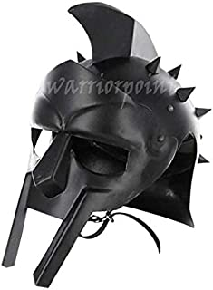 warriorpoint Maximus Roman Mens Gladiator Helmet Headgear Blackened Leather Liner Fitted | Adult Medieval Costume | LARP SCA