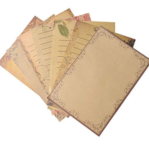 TOYANDONA 56 Stück Kraft Schreibpapier Briefpapier Retro Vintage Handwerk Schreiben Briefpapiere Bulk-Set für DIY Swedding Geburtstag Jubiläum Party Gunst Lieferungen